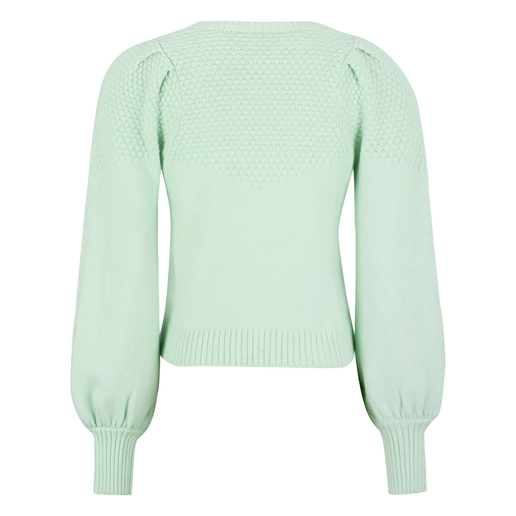 SR-PEACH LS V-NECK KNIT