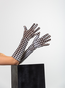 Velvet Houndstooth, Black/Beige, Gloves