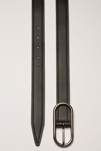 Masculine, Black Logo-Buckle Leather, Belt - Lindner Fashion