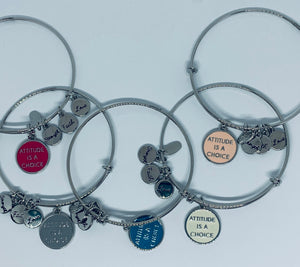 Silver Attitude is Everything - Bangle bracelet