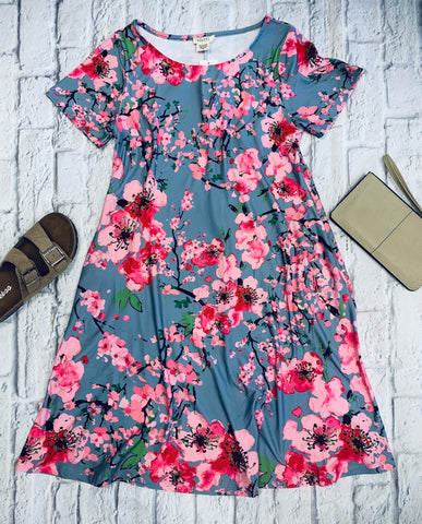 Grey/ Pink Floral Dress with Pockets