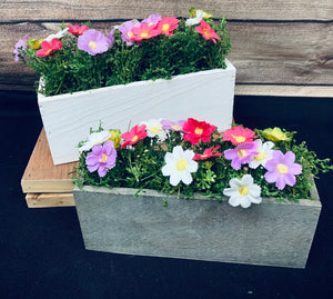 Small wooden flower boxes