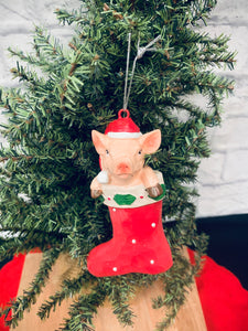Pig in Stocking Ornament