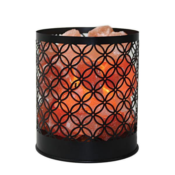 Himalayan Salt Lamp Wrought Iron Design