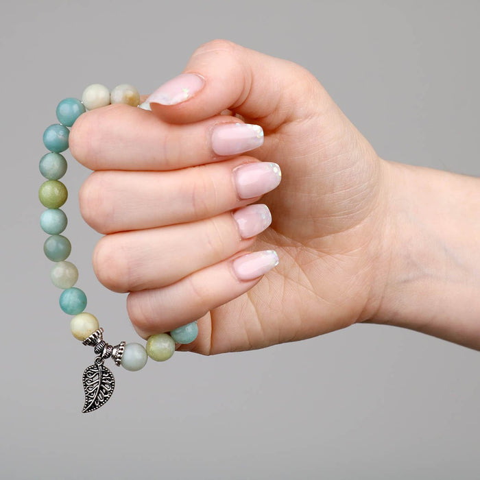 Amazonite Bracelet leaf in hand