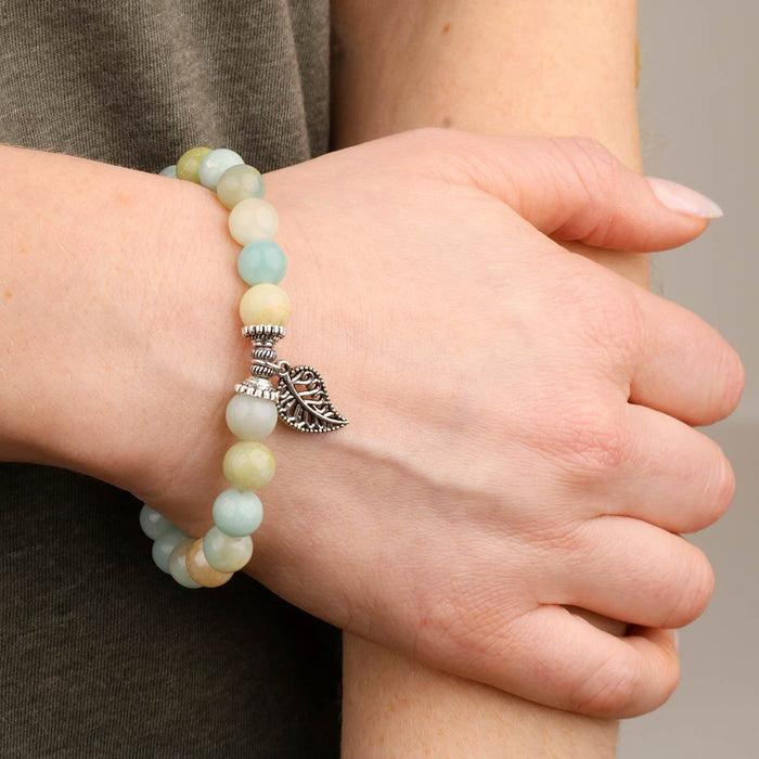 Amazonite Bracelet leaf on model