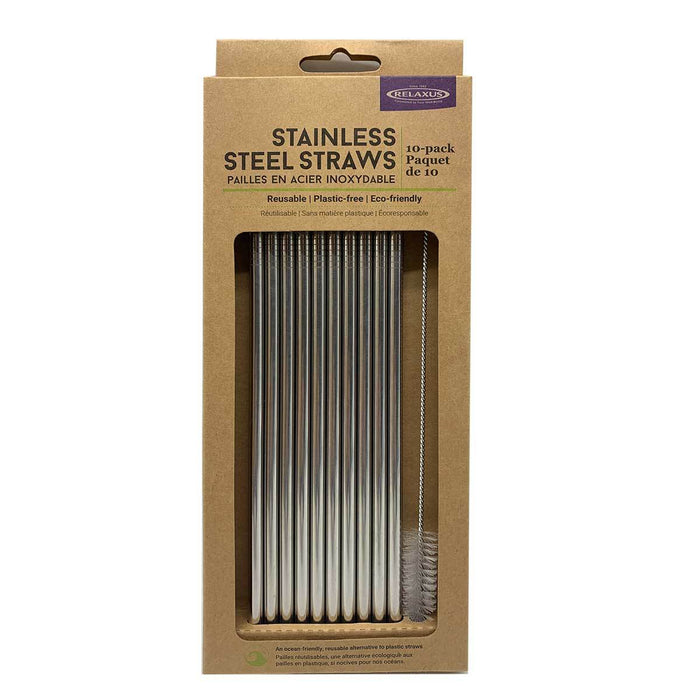Wholesale Stainless Steel Reusable Straw Kit (10-pack)