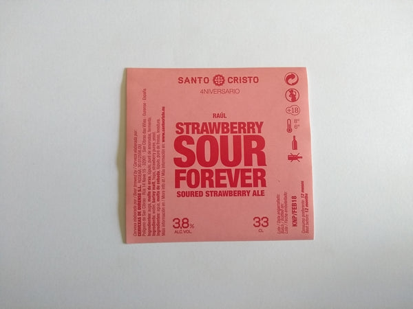 Etiqueta Strawberry sour forever botella
