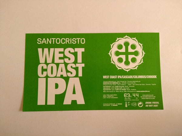 Etiqueta West coast ipa lata