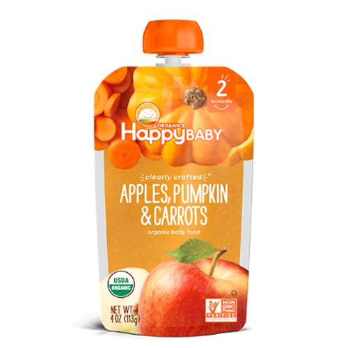 Happy Baby Clearly Crafted Apples, Pumpkin & Carrots Stage 2 113g