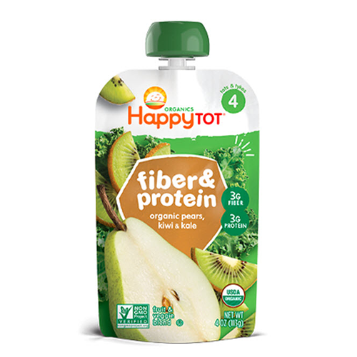 Happy Tot Fiber & Protein Organic Pears, Kiwi & Kale Stage 4 113g
