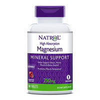 Natrol High Absorption Magnesium Mineral Support 250mg 60 Chewable Tablets