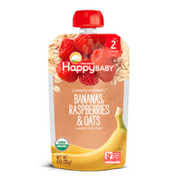 Happy Baby Clearly Crafted Bananas, Raspberries & Oats Stage 2 113g