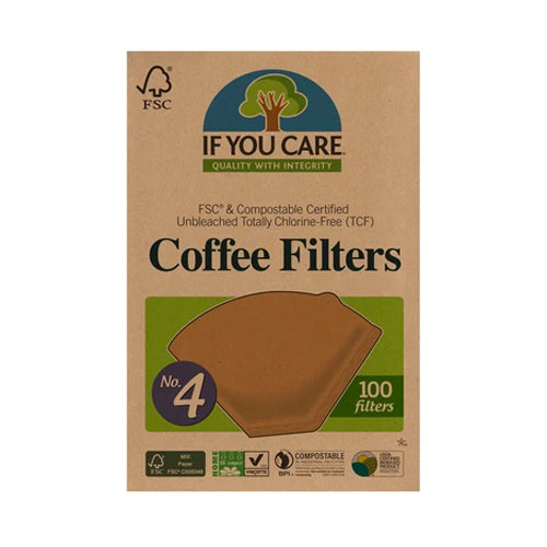 If You Care No. 4 Compostable Unbleached Coffee Filters 100 Pieces