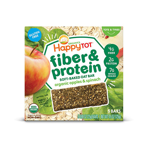 Happy Tot Fiber & Protein Organic Apples & Spinach Oat Bar 125g