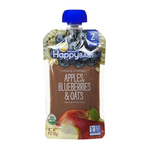 Happy Baby Clearly Crafted Apples, Blueberries & Oats Stage 2 113g