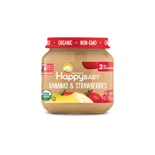 Happy Baby Clearly Crafted Bananas & Strawberries Jar Stage 2 113g