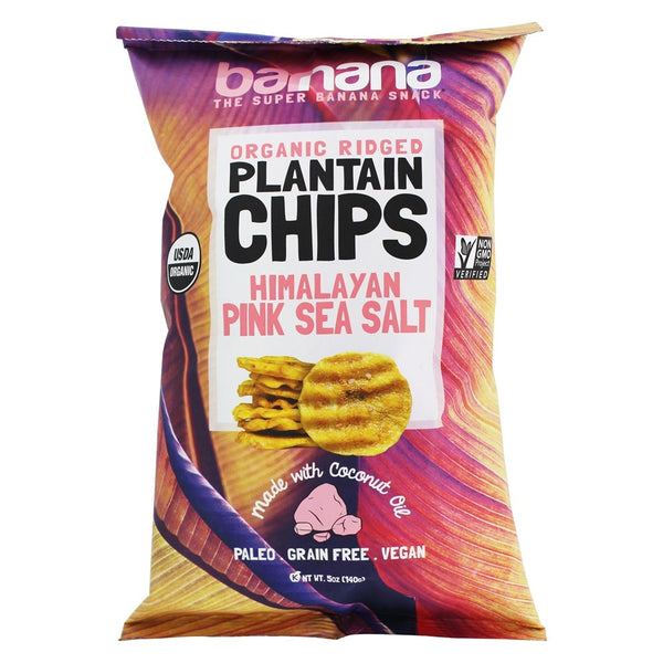 Barnana Organic Ridged Plantain Chips Himalayan Pink Sea Salt 140g