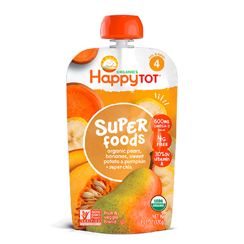 Happy Tot Super Foods Organic Pears, Bananas, Sweet Potato & Pumpkin Stage 4 120g