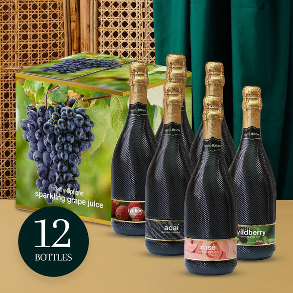 Healthy Options Assorted Sparkling Grape Juice 750ml (Box of 12s)