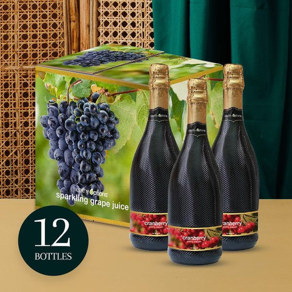 Healthy Options Cranberry Sparkling Grape Juice 750ml (Box of 12s)