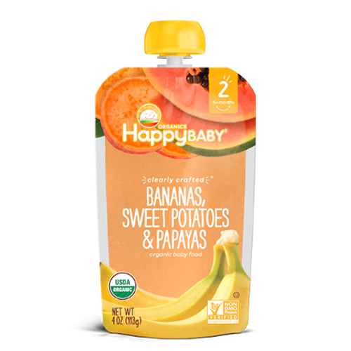 Happy Baby Clearly Crafted Bananas, Sweet Potatoes & Papayas Stage 2 113g