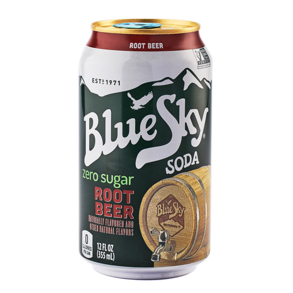 Blue Sky Zero Sugar Root Beer Soda 355ml