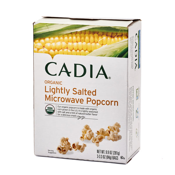 Cadia Organic Lightly Salted Microwave Popcorn 281g