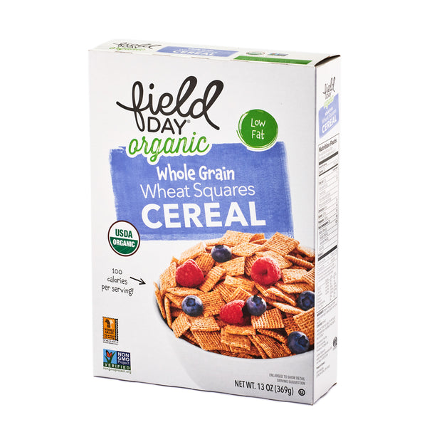 Field Day Organic Whole Grain Wheat Squares Cereal 369g