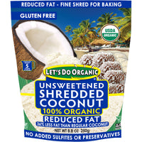 Let's Do Organic Unsweetened Shredded Coconut Reduced Fat 250g
