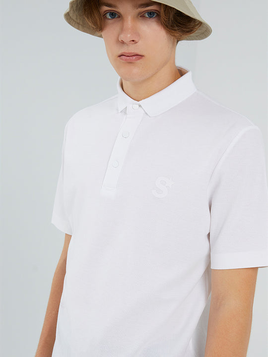 Men Leisure Pure White Polo