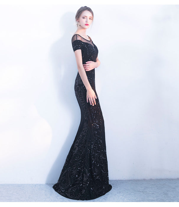 Sequin evening banquet long fishtail elegant slim party dress