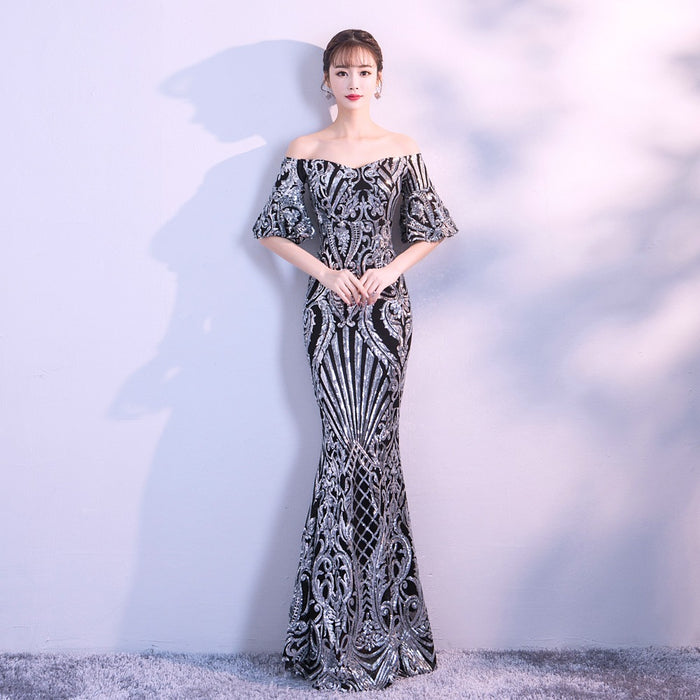 Banquet / dance / party / party / host sequin slim long dress