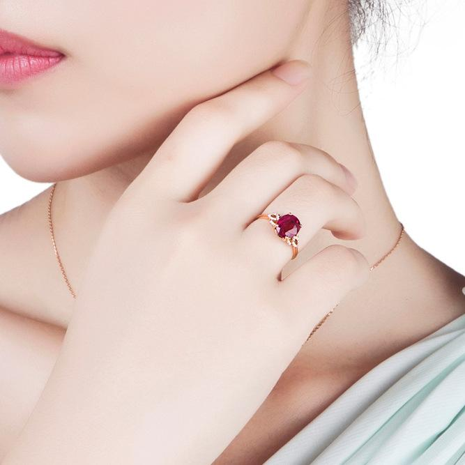 Natural pigeon blood ruby women's ring
