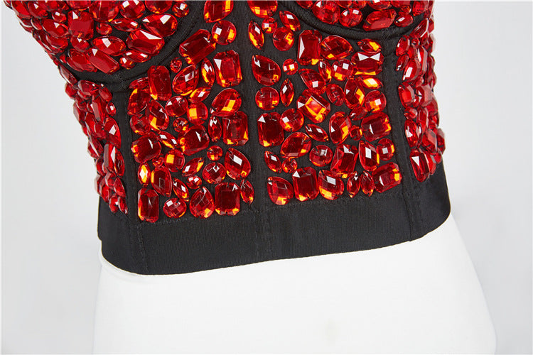Night Club Red Vest  Sparkly  Studded  tube top camisole