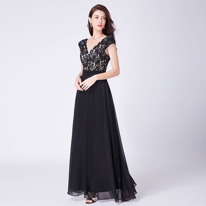 Bridesmaid  lace chiffon sleeveless Black dress