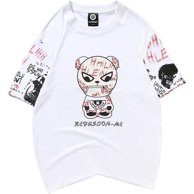 Japanese Anime  -Summer couple short-sleeved cartoon panda print T-shirt