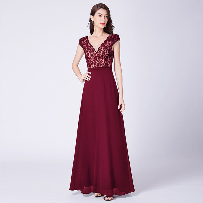 Shiny  lace chiffon sleeveless Red dress