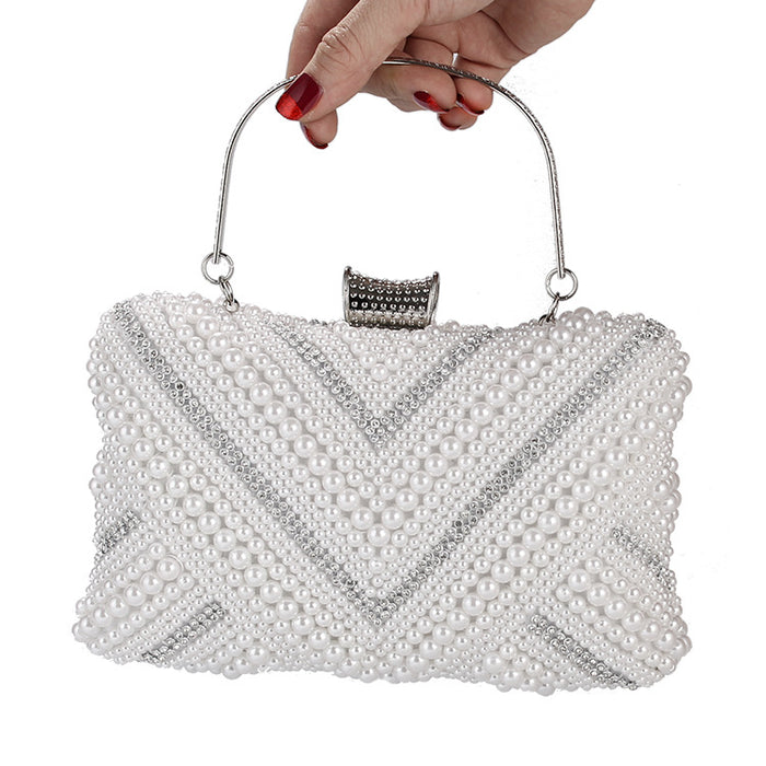 Glitter Sparkly Sequins Bling High-end pearl banquet clutch bag