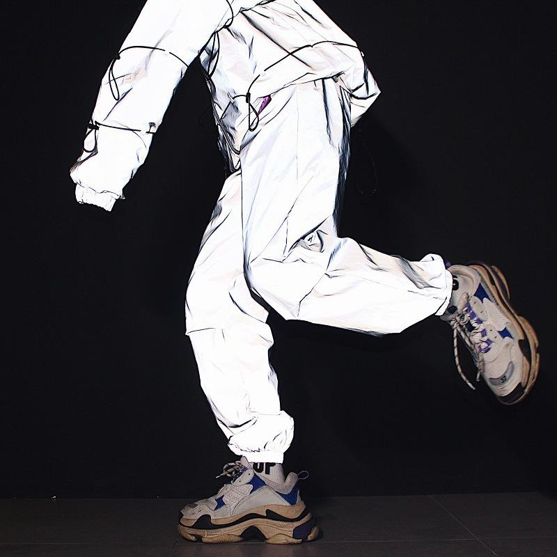 Japanese hip-hop hipsters hip-hop dynamic casual pants beam-footed reflective jump pants