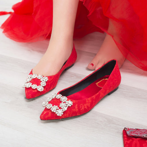 Glitter Flats   -Red Lace