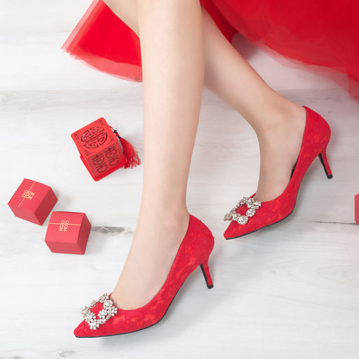 Glitter Heels  -Red Lace
