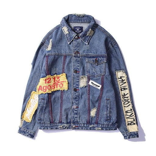 Original Foreign Trade Hole Printing Coat Denim Japanese Street Clothing