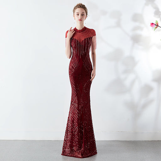 Bride Party long Red wine fungus slim fishtail Sparkle  evening dress