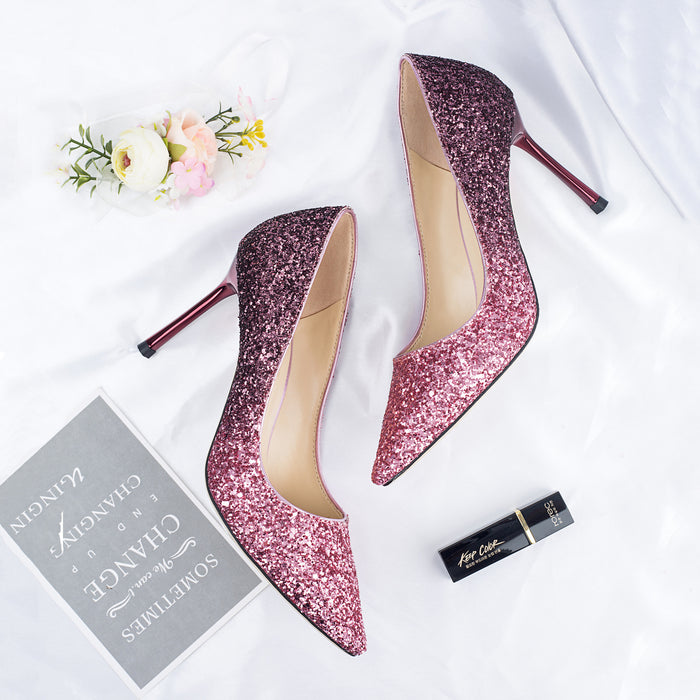 Glitter  Heels -Rose Red Sequins Rainbow Pastel