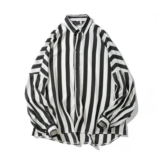 New Korean Version Japanese Street Oersize Striped Print Shirt