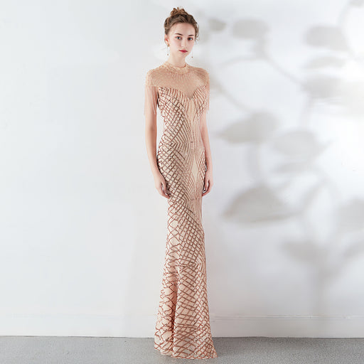 Night Club high neck tassel Glitter fishtail champagne dress