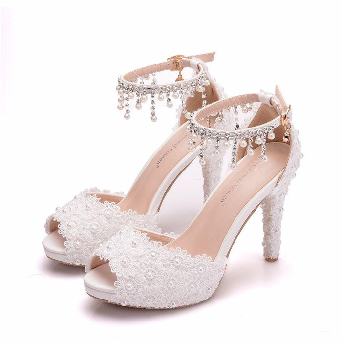 Glitter Sandals -Lace Beads