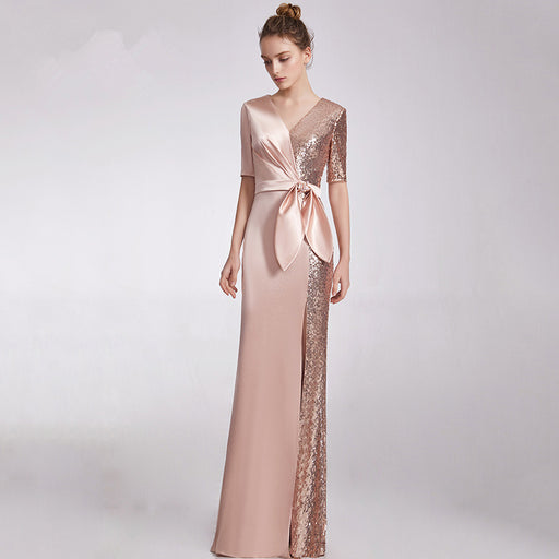 Bridesmaid party sequin evening dress