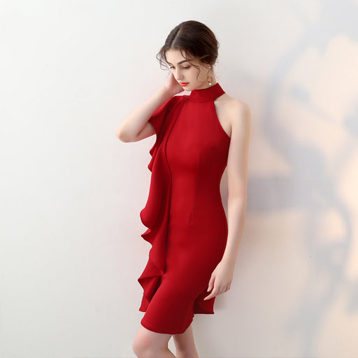 Bridesmaid tight irregular Trumpet sleeve Red Dress